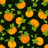 Seamless pattern with orange pumpkins and green leaves. Vector illustration. stock illustration