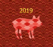 Vector Seamless Pattern, Oriental Style, 2019 New Year`s Symbol: the Pig, Golden and Red. Vector Seamless Pattern, Oriental Style, 2019 New Year`s Symbol: the stock illustration