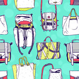 Vector seamless pattern with original bags Stock Photography