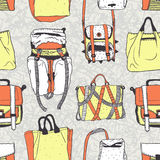 Vector seamless pattern with original bags Royalty Free Stock Photo