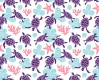 Vector seamless pattern with ornamental ocean turtles. Blue ethnic hand drawn design. Vector seamless pattern with ornamental ocean turtles. Blue ethnic hand Stock Photos