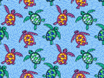 Vector seamless pattern with ornamental ocean turtles. Blue hand drawn design. Stock Images