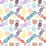 Vector Seamless Pattern with Ornate Candies Royalty Free Stock Images