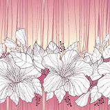 Vector seamless pattern with ornate Chinese Hibiscus flower, bud and leaves in white on the pastel background with stripes. Royalty Free Stock Image