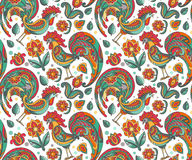 Vector seamless pattern with ornate floral roosters and flowers Royalty Free Stock Image