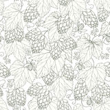 Vector seamless pattern with ornate Hops with leaves in black on the white background. vector illustration