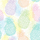 Vector seamless pattern with outline Ananas or Pineapple in pastel color and dots on the white background. Fruit pattern. Stock Photo