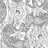 Vector seamless pattern with outline black koi carp and chrysanthemum or dahlia on the white background.  Japanese ornate fish. Stock Images