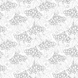 Vector seamless pattern with outline bunch of Viburnum or Guelder rose, leaves and berry on the white background. Stock Photo