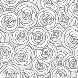 Vector seamless pattern with outline decorative roses in gray tones. Beautiful floral background, stylish abstract flowers. Royalty Free Stock Photos