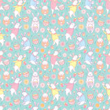 Vector seamless pattern with outline Easter rabbits, egg, basket and flowers in pastel colors on the turquoise background. Cute cartoon bunny and eggs in Stock Photo