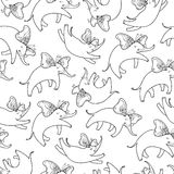 Vector seamless pattern with outline flying elephant with ornate butterfly wings on the white background. Cartoon cute elephants. Royalty Free Stock Photography