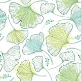 Vector seamless pattern with outline Gingko or Ginkgo biloba leaves and blot in pastel green on the white background. Stock Images