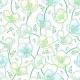 Vector seamless pattern with outline Jasmine flowers in pastel white and green on the white background. Elegance floral background. With jasmin in contour style Royalty Free Stock Photography