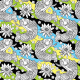 Vector seamless pattern with outline koi carp and lotus or water lily on the background in black, yellow, green and blue. Marine background with Japanese Royalty Free Stock Images