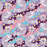 Vector seamless pattern with outline koi carp and lotus or water lily on the background in pink, blue, violet and yellow. Stock Photo