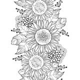 Vector seamless pattern with outline open Sunflower or Helianthus flower and leaves on the white background. Floral pattern. Stock Photo
