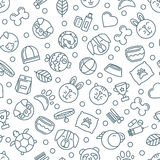 Vector seamless pattern with outline pets icons. Goods for animals. Design for pet shop, pets care, grooming or veterinary. Monochrome simple background for vector illustration