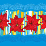 Vector seamless pattern with outline Poinsettia flower or Christmas Star in red and colorful stripes on the blue background. Royalty Free Stock Photos
