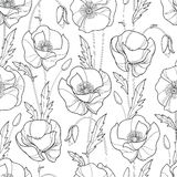 Vector seamless pattern with outline Poppy flower, bud and leaves in black on the white background. Monochrome floral pattern. Royalty Free Stock Photo