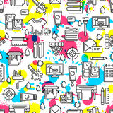 Vector seamless pattern with outline printing icons, watercolor blots and splashes. Royalty Free Stock Photos