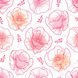 Vector seamless pattern with outline red Poppy flower and pink pastel blots on the white background. Elegance floral background. Stock Photography