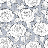 Vector seamless pattern with outline rose flower, stems and leaves in black on the gray background. Elegance floral background. Royalty Free Stock Photo