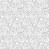 Vector seamless pattern with outline rose flower, stems and leaves in black on the white background. Elegance floral background. Stock Image