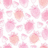 Vector seamless pattern with outline Strawberry and blots in pink pastel color on the white background. Elegance floral background. With Strawberry in contour Royalty Free Stock Photography
