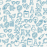 Vector seamless pattern with outline symbols of science, educati. On and research. Abstract blue and white background. Concept for medical, innovation, chemical Royalty Free Stock Image