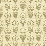 Vector seamless pattern with outline vine grape and grape leaves. Stock Photography