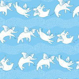 Vector seamless pattern with outline white flying elephant and butterfly wings on the blue background with striped waves. Royalty Free Stock Photos