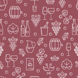 Vector seamless pattern with outline wine bottle, glass, grape v Royalty Free Stock Photos