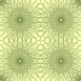 Vector seamless pattern. Outlined flowers on a light yellow background. Royalty Free Stock Image