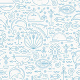 Vector seamless pattern with outlined sea animals signs Stock Photo