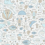 Vector seamless pattern with outlined sea animals signs Stock Photos