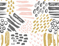 Vector seamless pattern of painted ink textures. Set of hand-drawn stylish hipster strokes