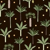 Vector seamless pattern of palm and banana trees with golden confetti on black background stock illustration