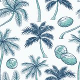 Vector seamless pattern of palm. Different kinds of tropical palmtrees and coconut. Contour sketch background monochrome. Turquoise isolated on white background stock illustration