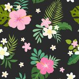Vector seamless pattern with palm leaves and flowers Royalty Free Stock Images