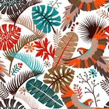 Vector seamless pattern with palm leaves and parrots. Vector tropical wallpaper. Bright colorful botanical backdrop. Vector seamless pattern with palm leaves and stock illustration