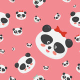 Vector seamless pattern: panda bear faces on a childish pink background, panda faces with different emotions. Stock Photos