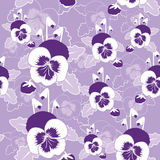 Vector seamless pattern of pansy flowers Royalty Free Stock Image