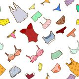 Vector seamless pattern with panty, lingerie and u Stock Photography