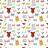 Vector seamless pattern with panty, lingerie and u Stock Photos
