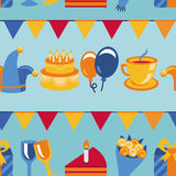 Vector seamless pattern with party icons and signs Royalty Free Stock Image