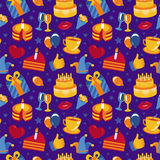 Vector seamless pattern with party icons and signs Stock Image