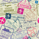 Vector seamless pattern with passport visa stamps Royalty Free Stock Images