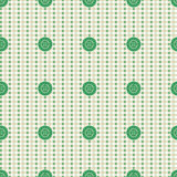 Vector seamless pattern. Pastel beige background with green buttons, fabric swatch samples texture. Stock Image