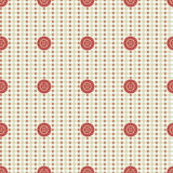 Vector seamless pattern. Pastel beige background with red buttons, fabric swatch samples texture. Royalty Free Stock Photography